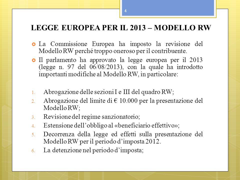 LEGGE EUROPEA PER IL 2013 – MODELLO RW