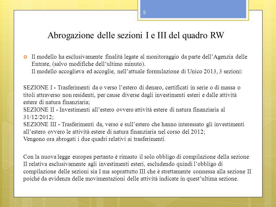 Abrogazione delle sezioni I e III del quadro RW