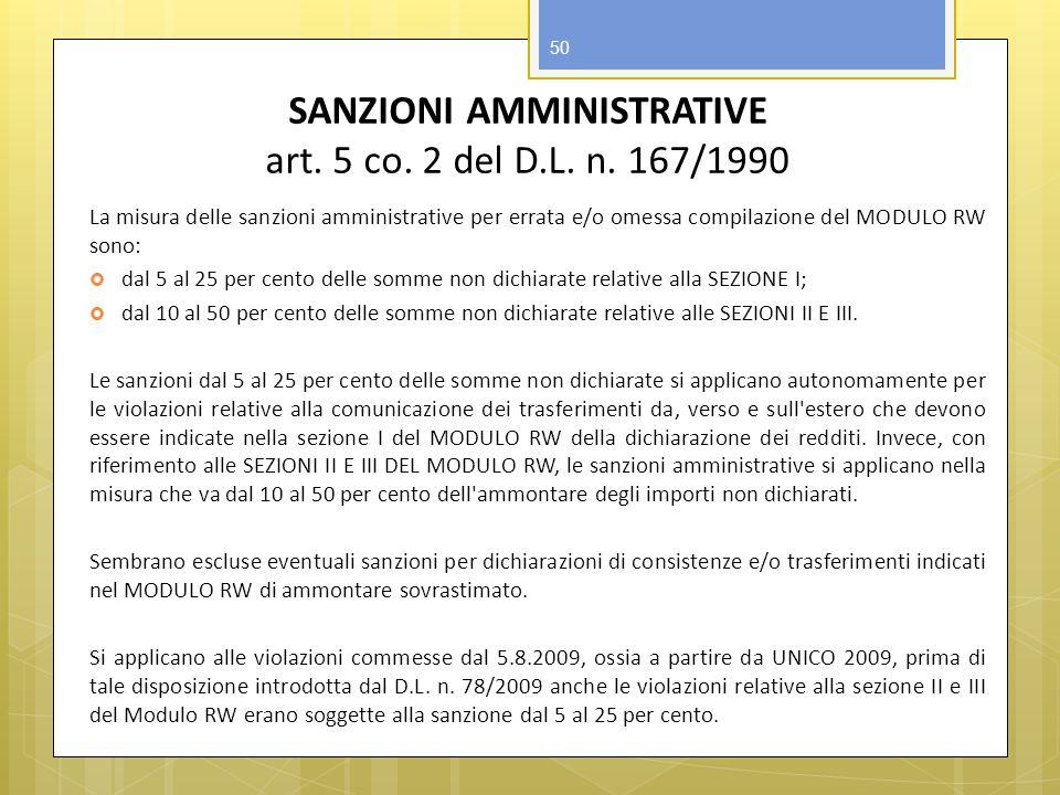 SANZIONI AMMINISTRATIVE art. 5 co. 2 del D.L. n. 167/1990