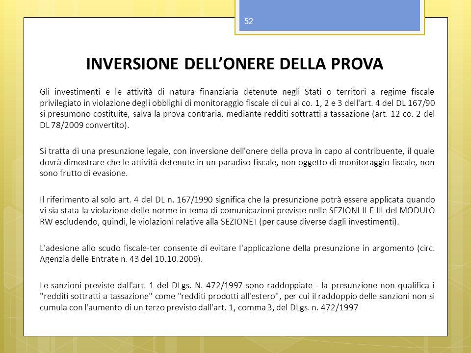 INVERSIONE DELL'ONERE DELLA PROVA