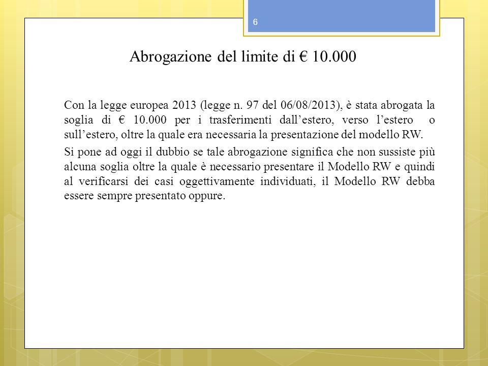 Abrogazione del limite di € 10.000