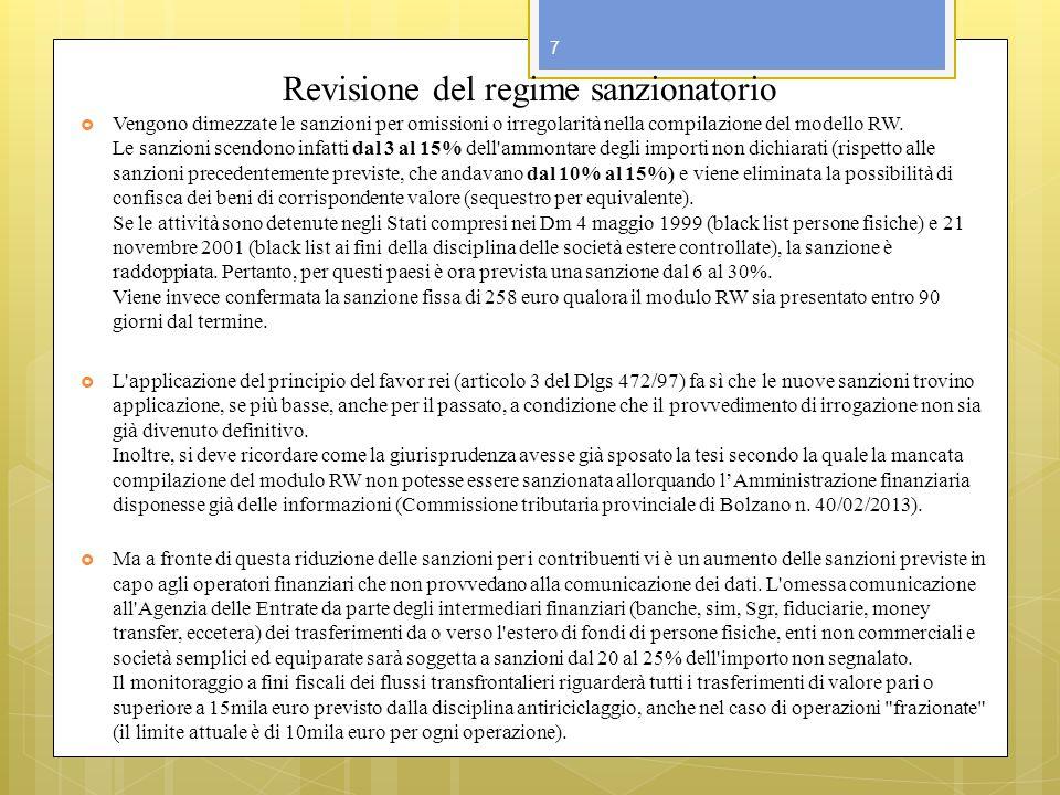 Revisione del regime sanzionatorio