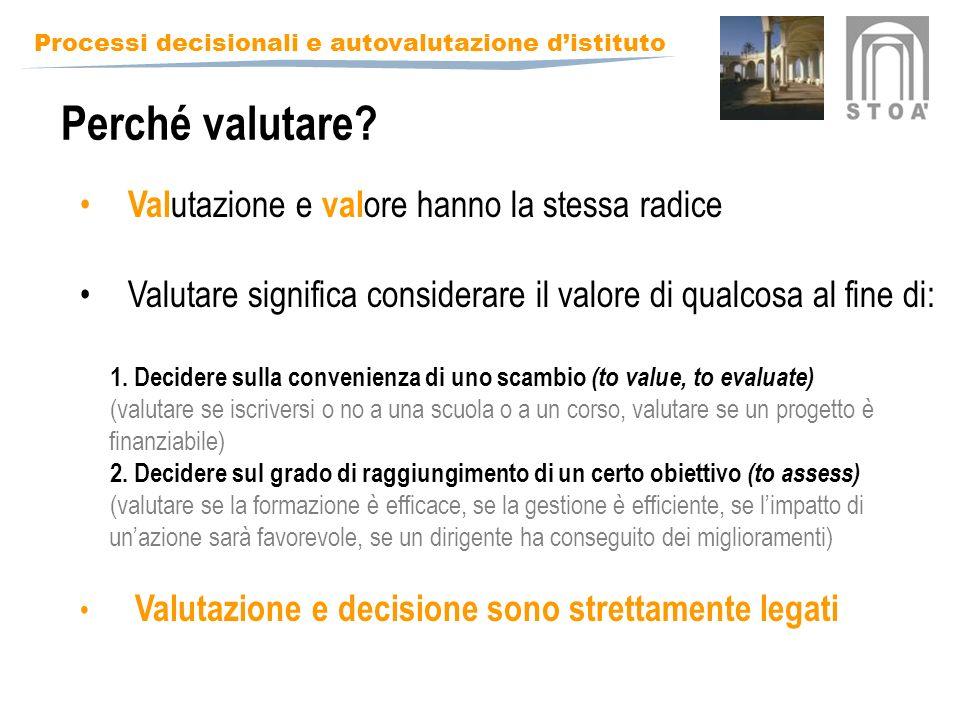 Perché valutare Valutazione e valore hanno la stessa radice