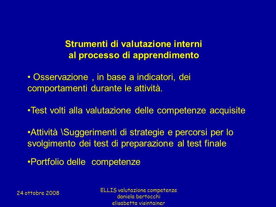Strumenti di valutazione interni al processo di apprendimento