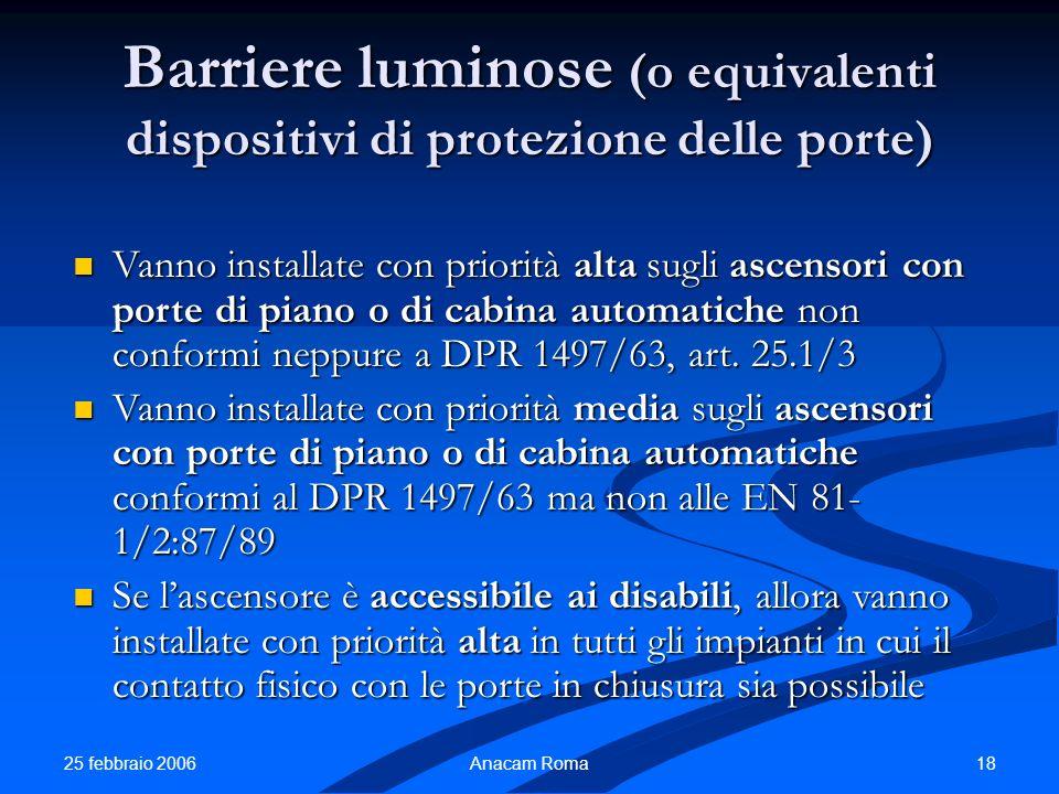 Barriere luminose (o equivalenti dispositivi di protezione delle porte)