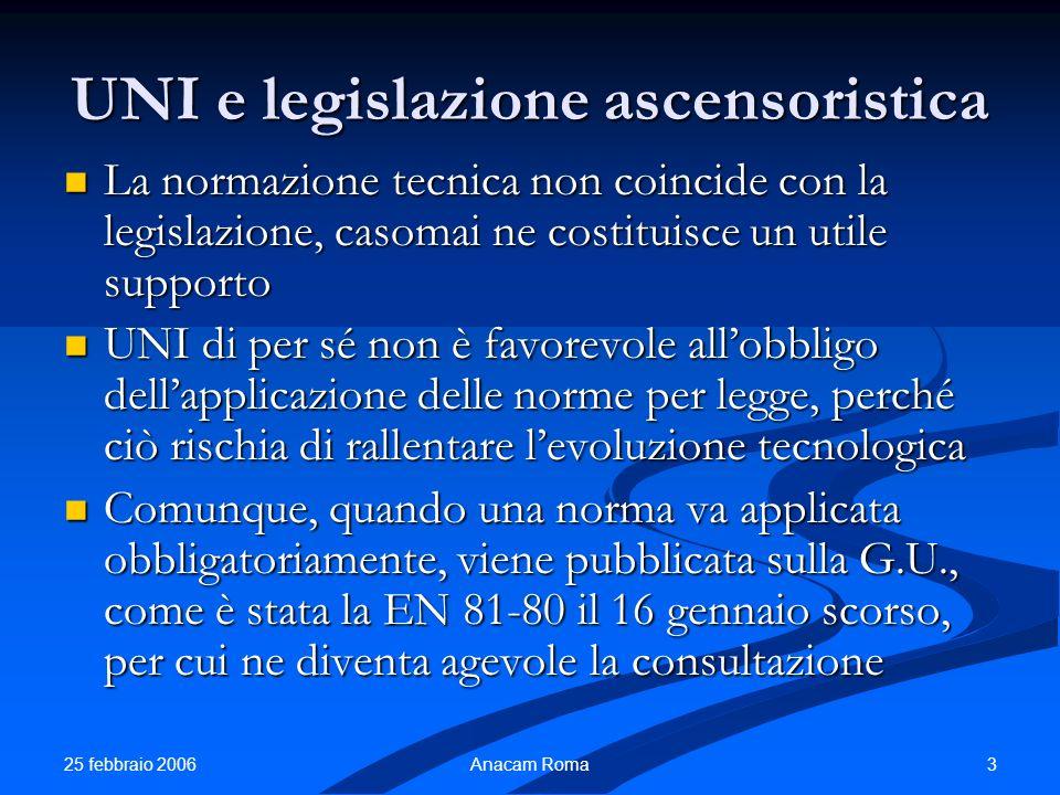 UNI e legislazione ascensoristica