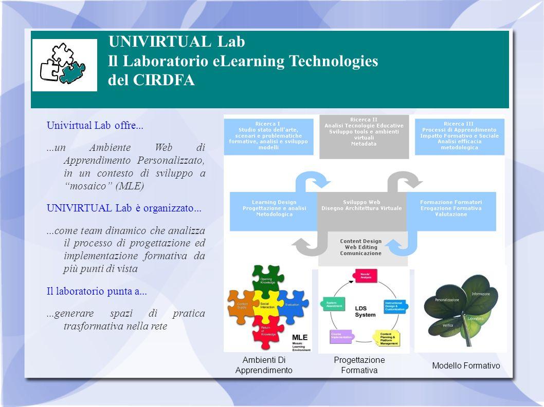 UNIVIRTUAL Lab Il Laboratorio eLearning Technologies del CIRDFA