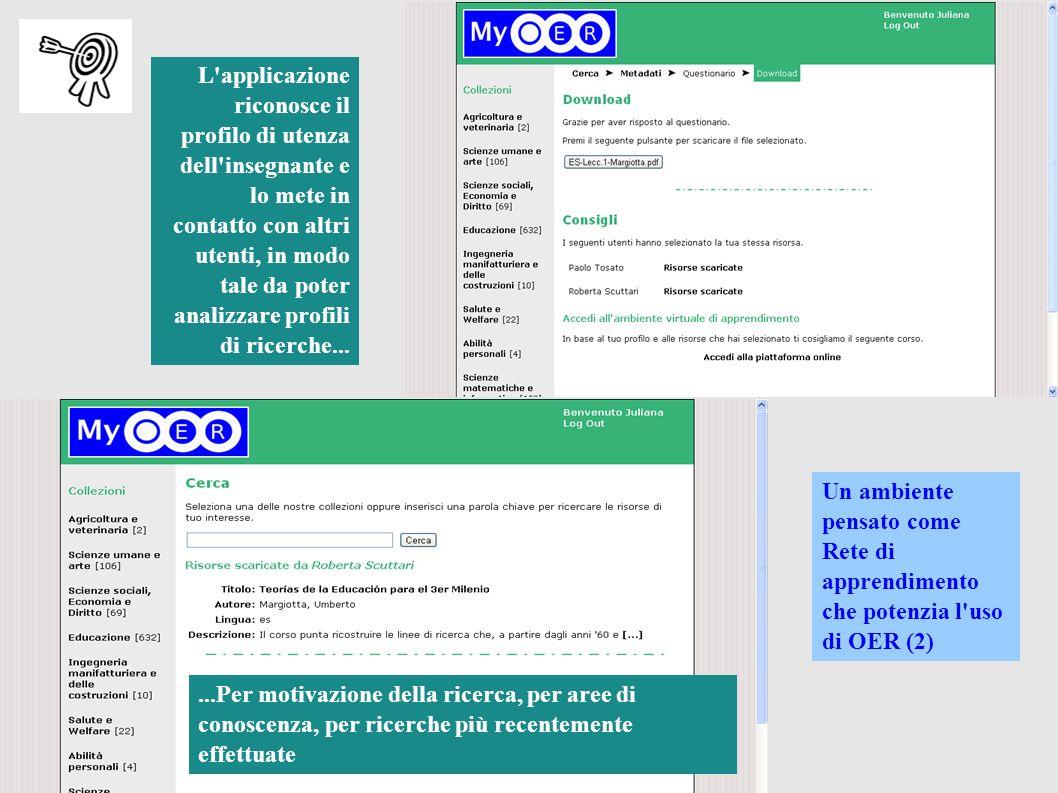 L applicazione riconosce il profilo di utenza dell insegnante e lo mete in contatto con altri utenti, in modo tale da poter analizzare profili di ricerche...