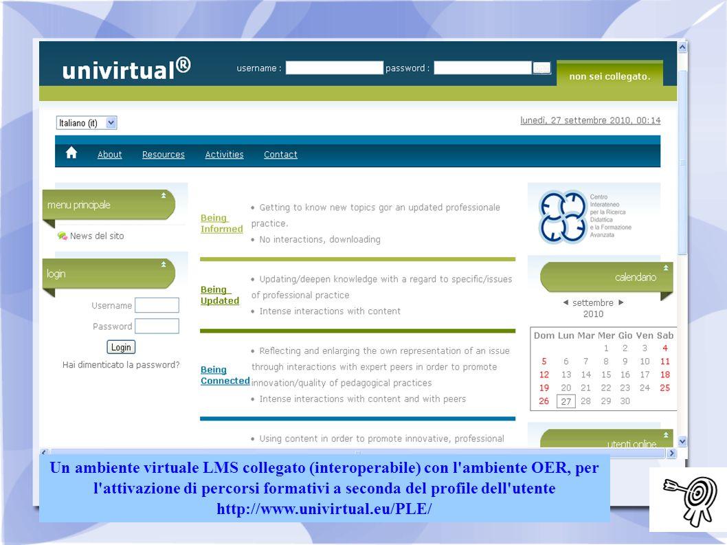 Un ambiente virtuale LMS collegato (interoperabile) con l ambiente OER, per l attivazione di percorsi formativi a seconda del profile dell utente