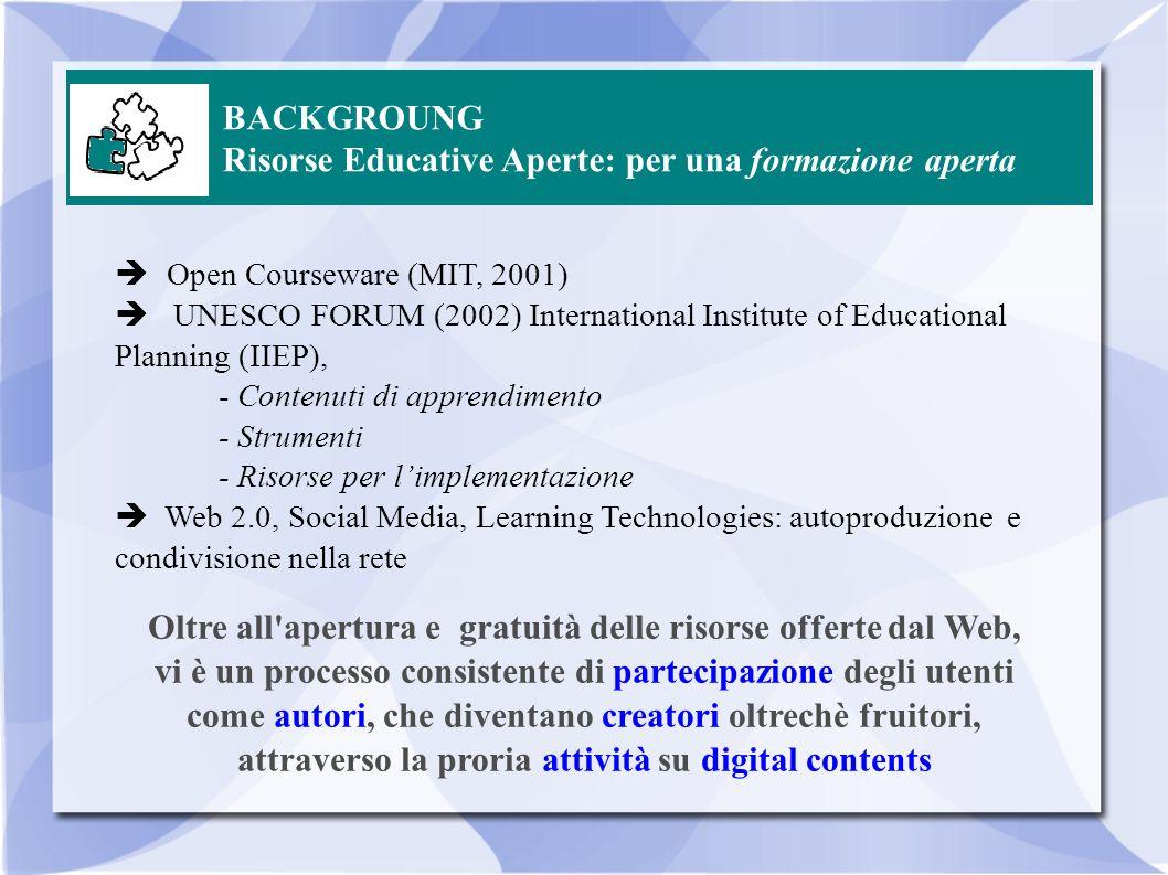 BACKGROUNG Risorse Educative Aperte: per una formazione aperta