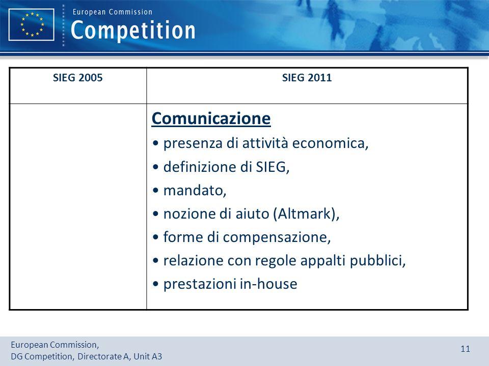 Comunicazione presenza di attività economica, definizione di SIEG,