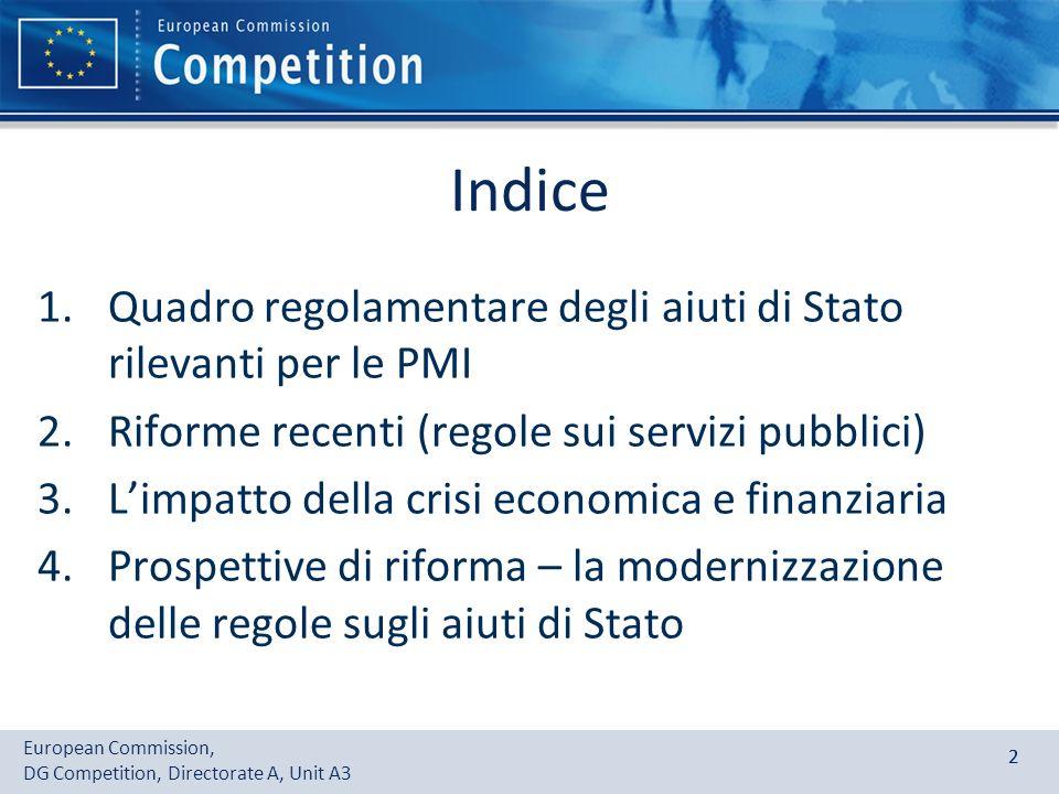 Indice Quadro regolamentare degli aiuti di Stato rilevanti per le PMI