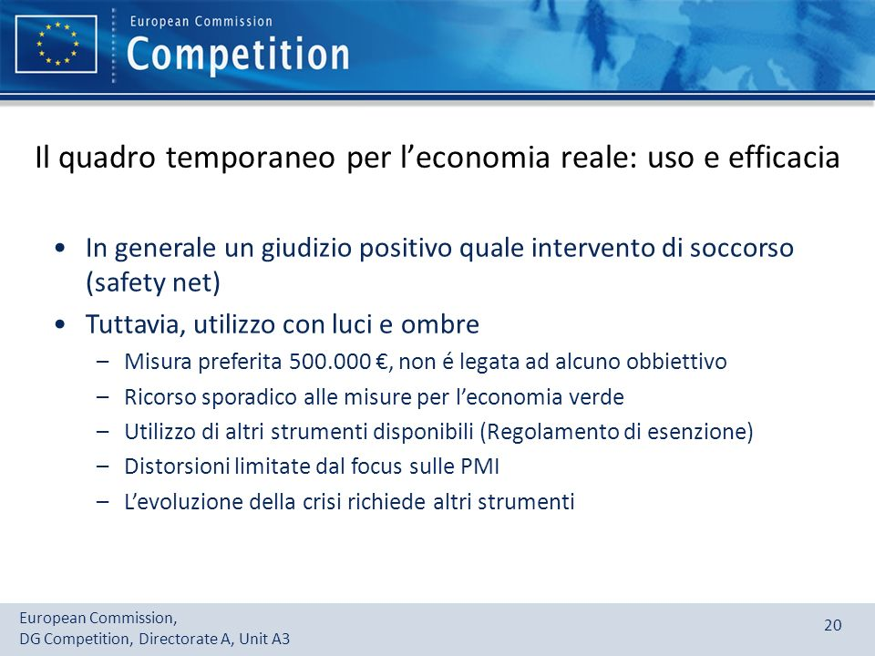 Il quadro temporaneo per l'economia reale: uso e efficacia