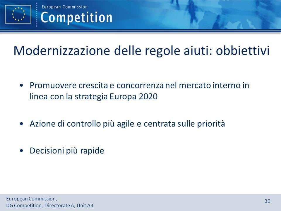 Modernizzazione delle regole aiuti: obbiettivi