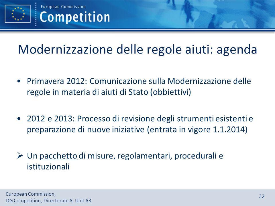 Modernizzazione delle regole aiuti: agenda