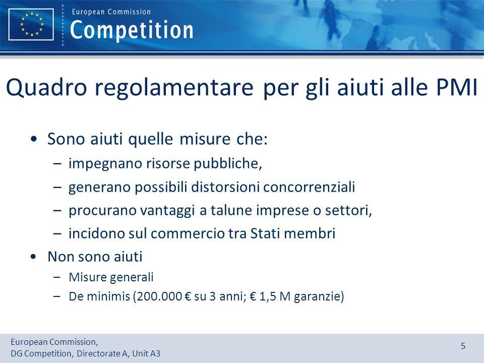 Quadro regolamentare per gli aiuti alle PMI