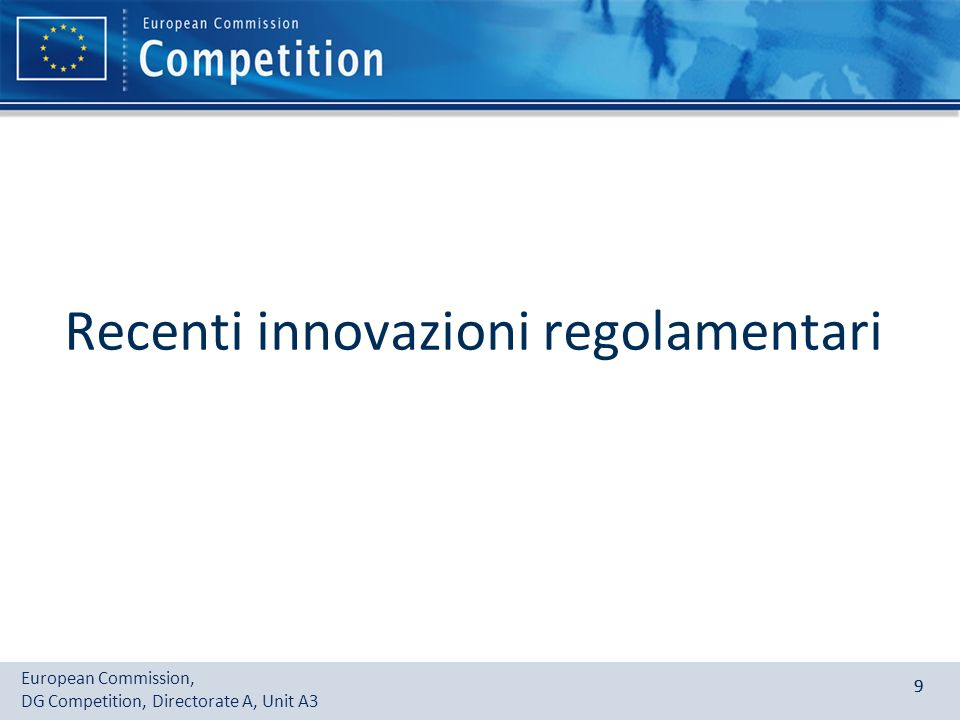 Recenti innovazioni regolamentari