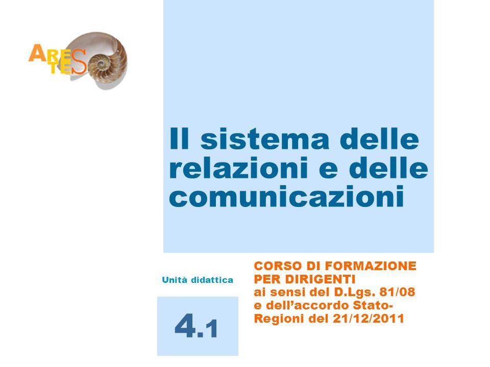 4.1 Il sistema delle relazioni e delle comunicazioni