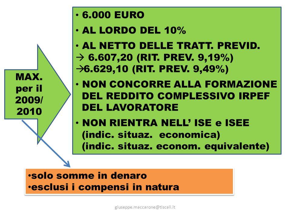 AL NETTO DELLE TRATT. PREVID.  6.607,20 (RIT. PREV. 9,19%)