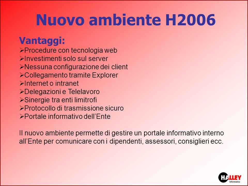 Nuovo ambiente H2006 Vantaggi: Procedure con tecnologia web