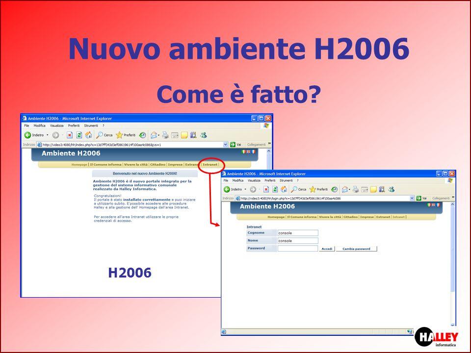 Nuovo ambiente H2006 Come è fatto nota H2006