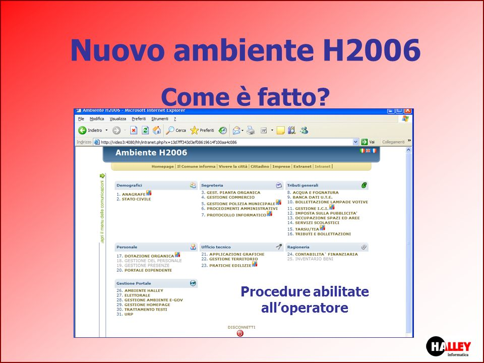 Procedure abilitate all'operatore