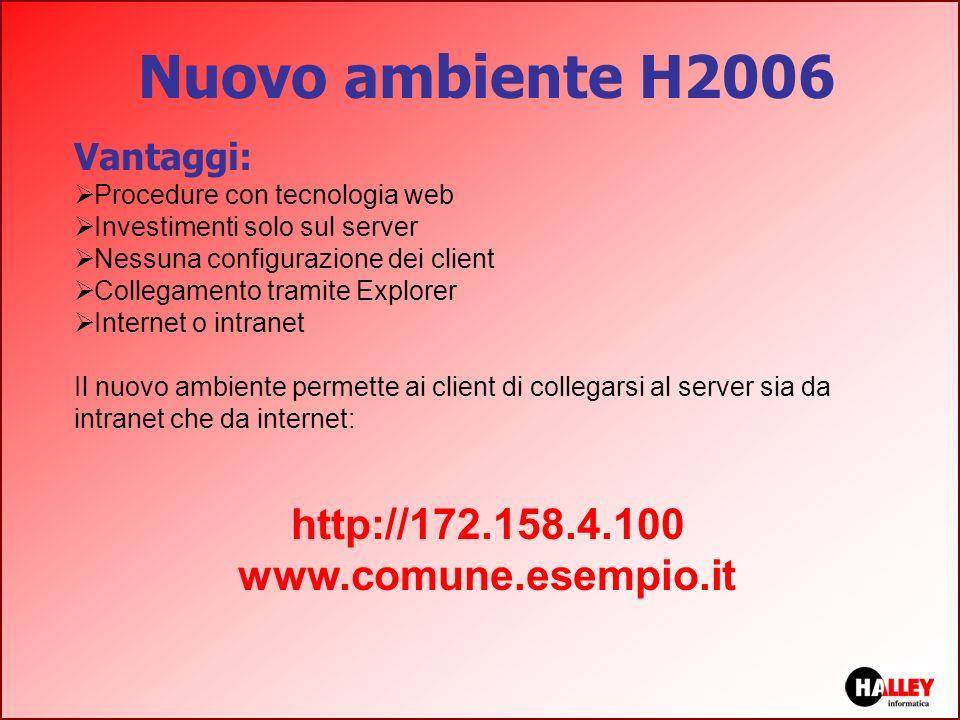 Nuovo ambiente H2006 http://172.158.4.100 www.comune.esempio.it