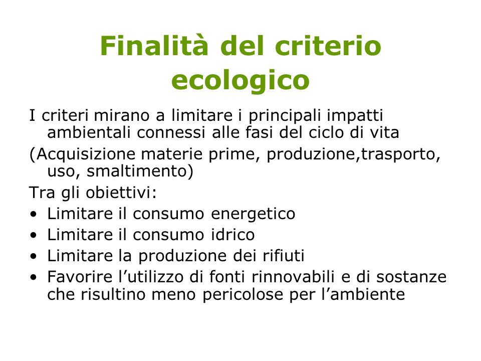 Finalità del criterio ecologico