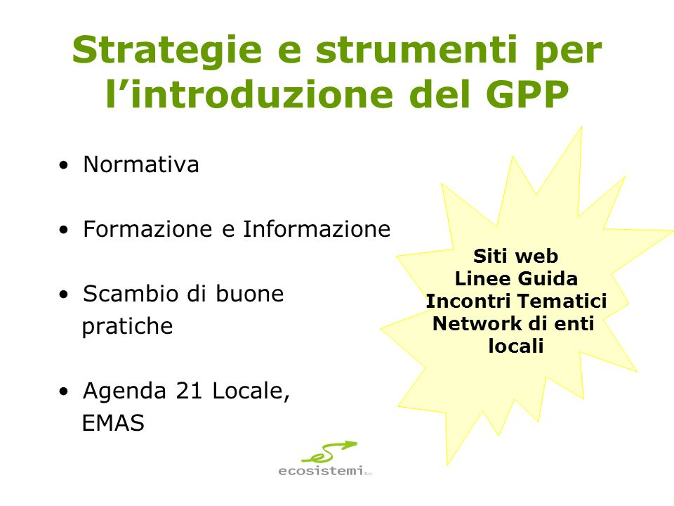 Strategie e strumenti per l'introduzione del GPP