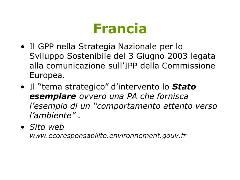 Francia Il GPP nella Strategia Nazionale per lo Sviluppo Sostenibile del 3 Giugno 2003 legata alla comunicazione sull'IPP della Commissione Europea.