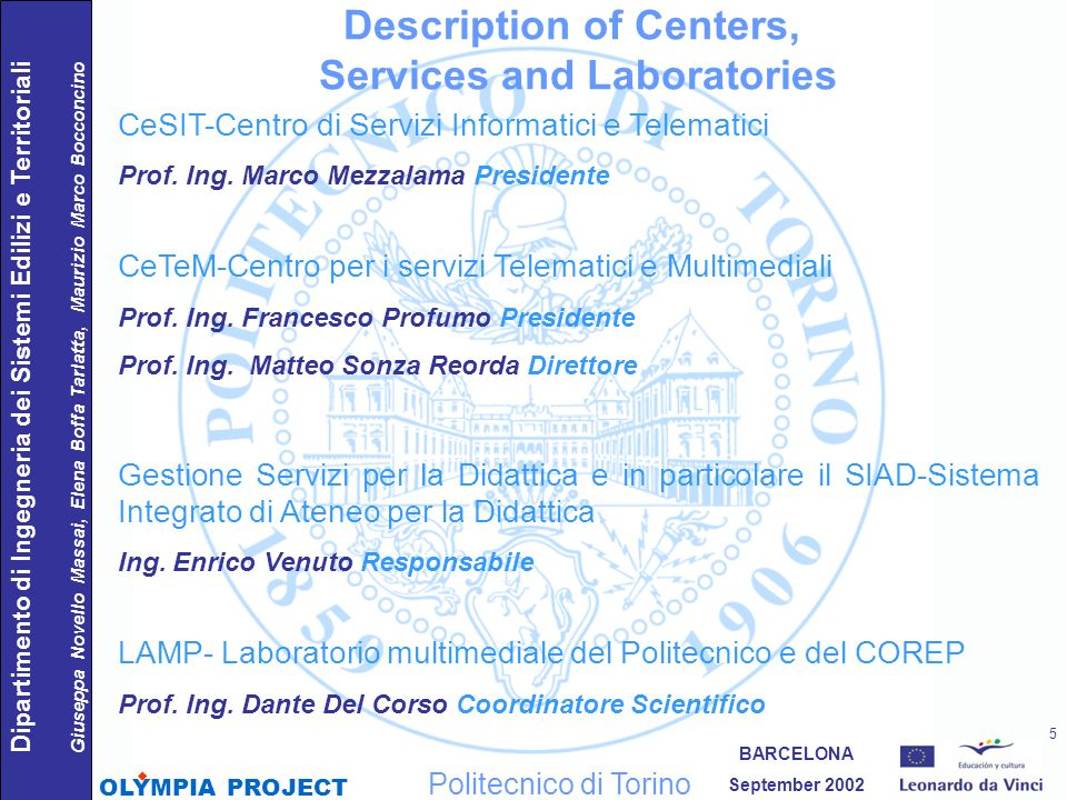 Description of Centers, Services and Laboratories