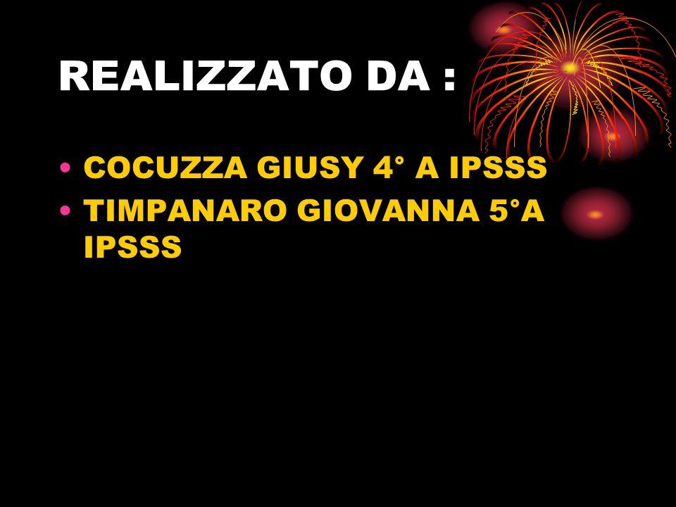 REALIZZATO DA : COCUZZA GIUSY 4° A IPSSS TIMPANARO GIOVANNA 5°A IPSSS
