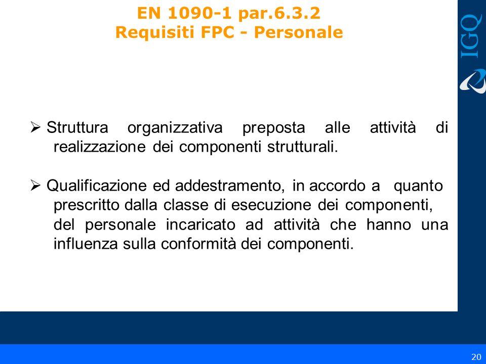EN 1090-1 par.6.3.2 Requisiti FPC - Personale
