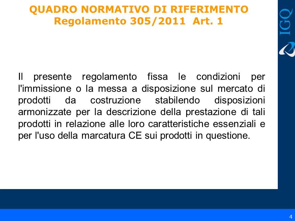 QUADRO NORMATIVO DI RIFERIMENTO Regolamento 305/2011 Art. 1