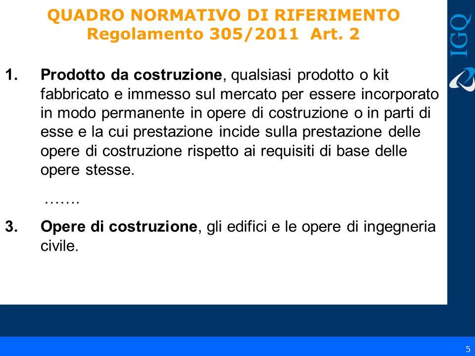 QUADRO NORMATIVO DI RIFERIMENTO Regolamento 305/2011 Art. 2