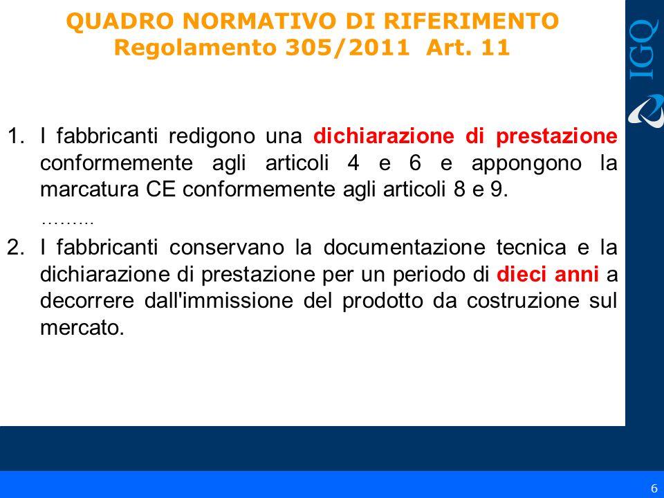 QUADRO NORMATIVO DI RIFERIMENTO Regolamento 305/2011 Art. 11