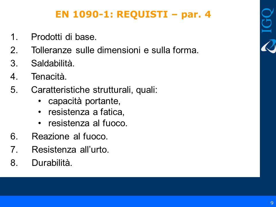 EN 1090-1: REQUISTI – par. 4Prodotti di base. Tolleranze sulle dimensioni e sulla forma. Saldabilità.