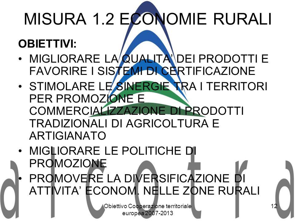 MISURA 1.2 ECONOMIE RURALI