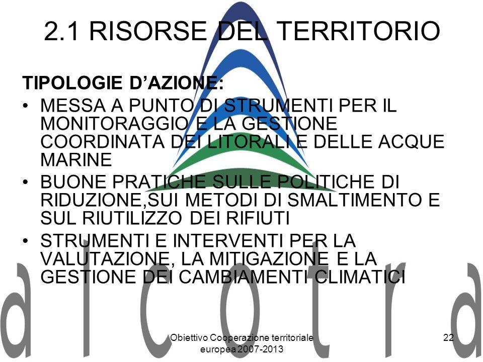 2.1 RISORSE DEL TERRITORIO