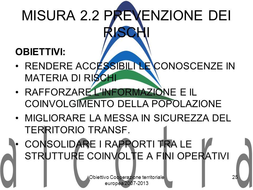 MISURA 2.2 PREVENZIONE DEI RISCHI