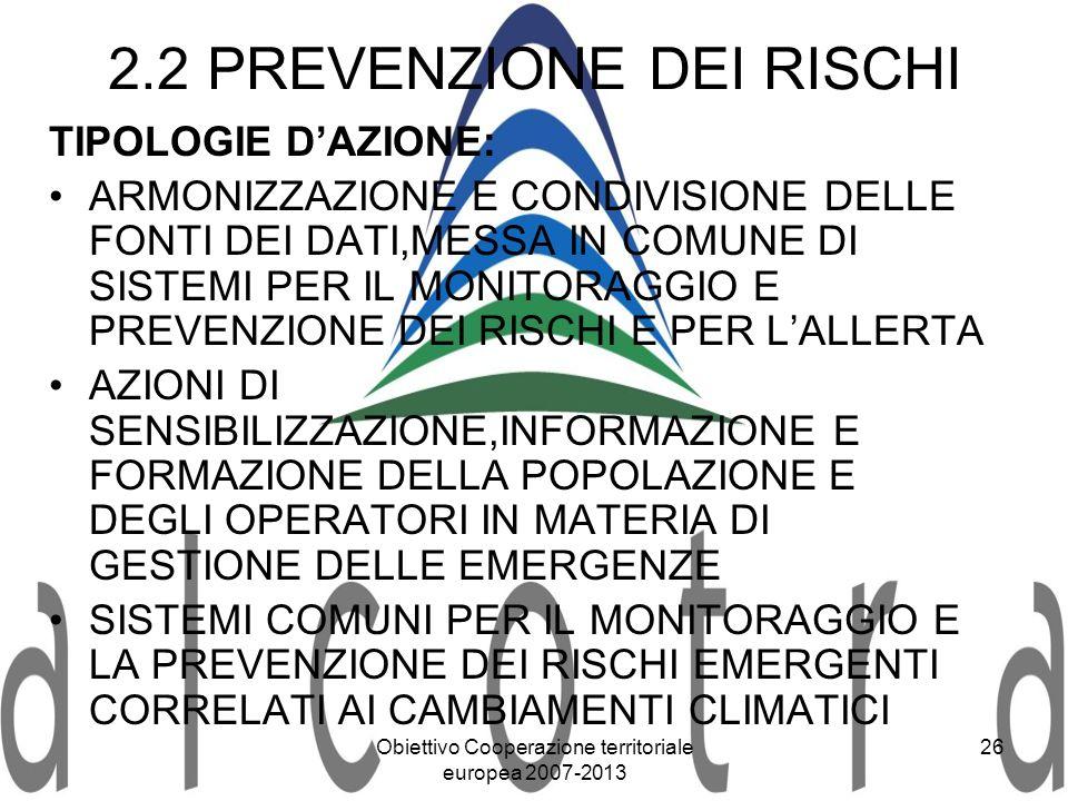 2.2 PREVENZIONE DEI RISCHI