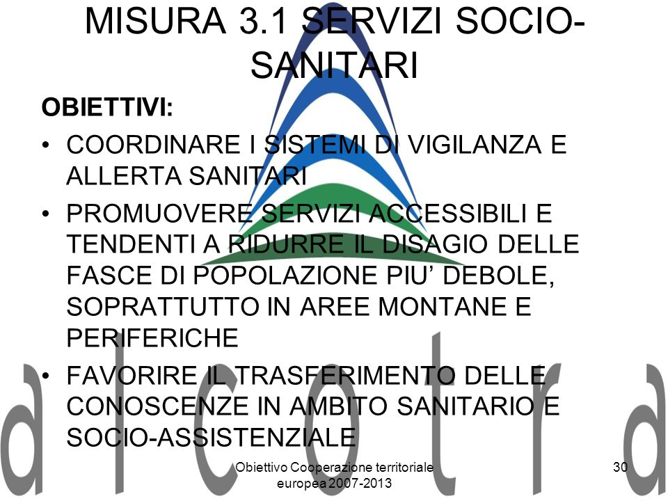 MISURA 3.1 SERVIZI SOCIO-SANITARI