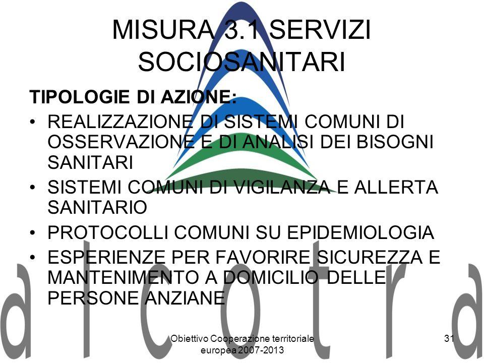 MISURA 3.1 SERVIZI SOCIOSANITARI