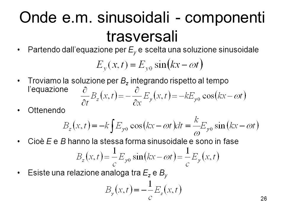 Onde e.m. sinusoidali - componenti trasversali