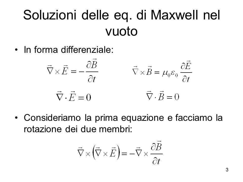Soluzioni delle eq. di Maxwell nel vuoto