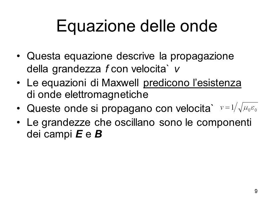 Equazione delle onde Questa equazione descrive la propagazione della grandezza f con velocita` v.