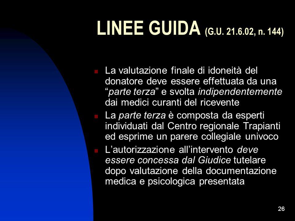 LINEE GUIDA (G.U. 21.6.02, n. 144)
