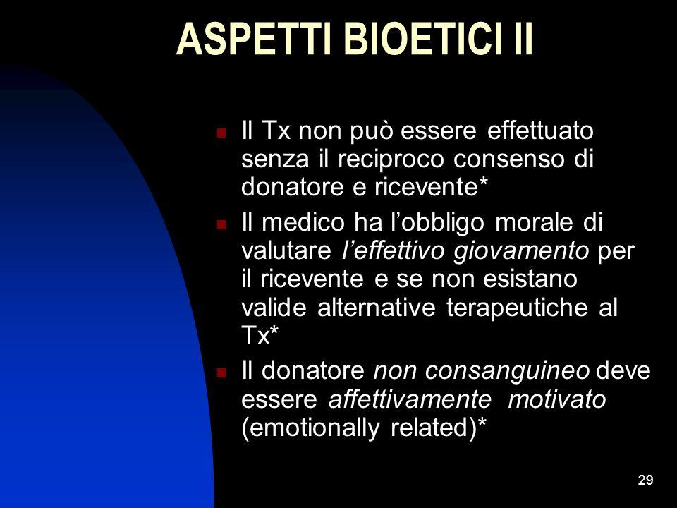 ASPETTI BIOETICI II Il Tx non può essere effettuato senza il reciproco consenso di donatore e ricevente*