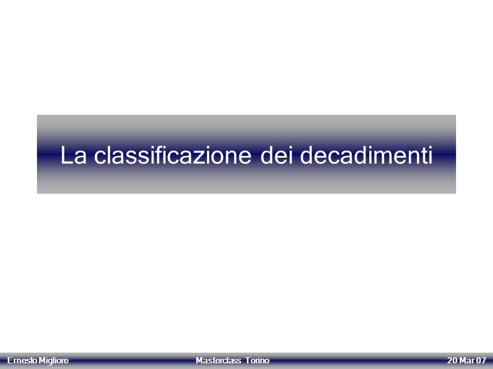 La classificazione dei decadimenti