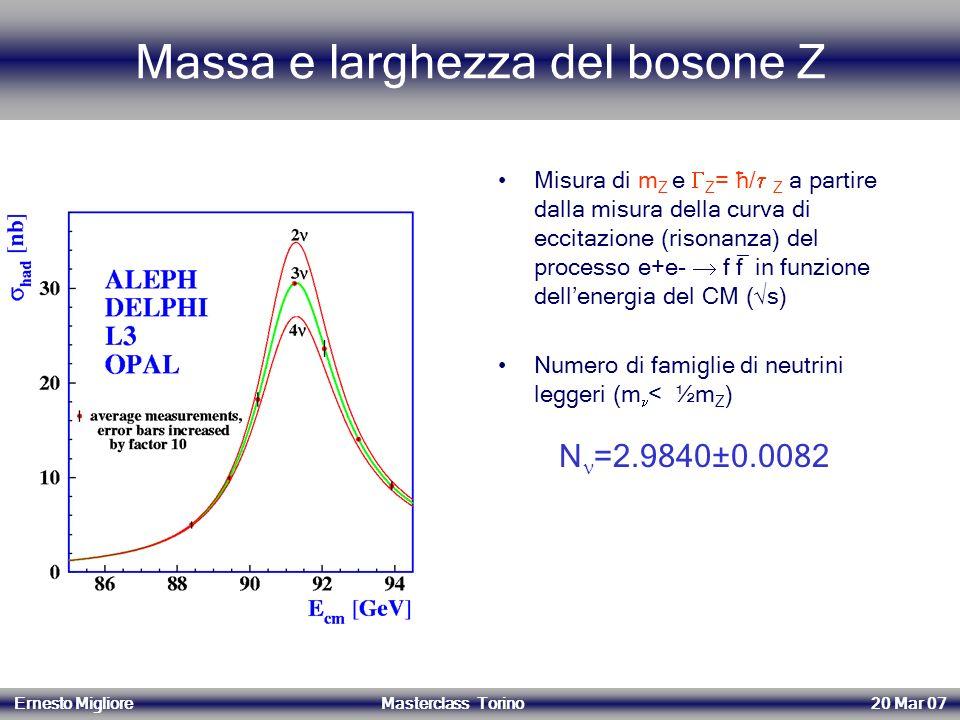 Massa e larghezza del bosone Z